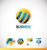Conception orange bleue d'icône de logo de la flèche 3d de sphère illustration libre de droits