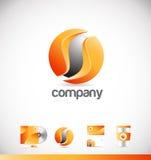 Conception orange d'entreprise d'icône de logo de la sphère 3d illustration stock