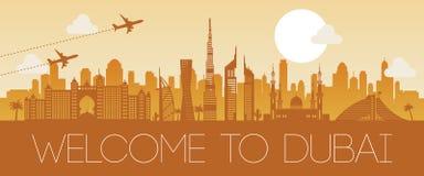 Conception orange de silhouette de point de repère célèbre de Dubaï illustration de vecteur