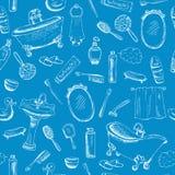 Conception orientée de salle de bains sur le fond bleu Images stock