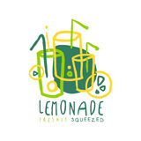 Conception originale de calibre de logo de limonade, illustration tirée par la main colorée de vecteur Photos stock