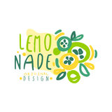 Conception originale de logo de limonade, illustration tirée par la main colorée de vecteur Photos stock