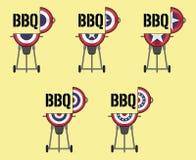 Conception ouverte de BBQ de couvercle avec le drapeau patriotique d'étamine illustration libre de droits