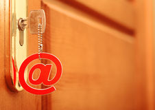 E-mail concept. Conception of password for e-mail as safety of safety of the private information Stock Photography