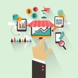 Conception plate Concept d'affaires avec la main Commercialisation infographic Image libre de droits