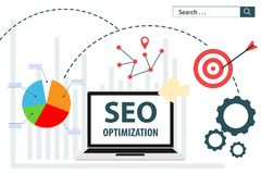 Conception plate d'analytics de Web d'illustration de vecteur de SEO Optimization illustration de vecteur