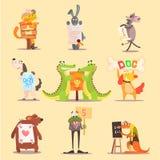 Conception plate d'animaux d'illustrateur mignon de bande dessinée Photographie stock libre de droits