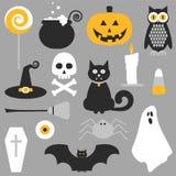 Conception plate d'icônes de Halloween illustration stock