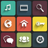 Conception plate d'icônes de Web sur la couleur Photos libres de droits
