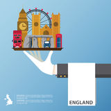 Conception plate d'icônes des points de repère du Royaume-Uni Voyage global infographic Photographie stock
