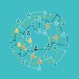 Conception plate d'illustration de concept de réseau d'affaires Image libre de droits