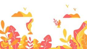 Conception plate d'illustration de vecteur de calibre de fond de feuilles d'automne illustration de vecteur