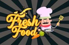 Conception plate d'illustration de vecteur de Fresh Food Background de chef de bande dessinée Illustration Libre de Droits