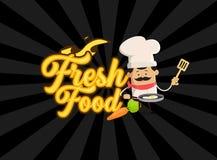 Conception plate d'illustration de vecteur de Fresh Food Background de chef de bande dessinée Illustration Stock
