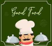 Conception plate d'illustration de vecteur de Good Food Background de chef de bande dessinée Illustration Stock