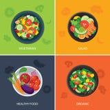 Conception plate de bannière de chaîne alimentaire végétarien, aliment biologique, sain Image libre de droits