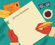 Conception plate de bureau du vecteur de Santa de Noël Image libre de droits