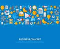 Conception plate de calibre de bannière avec des icônes d'affaires illustration stock