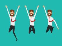 Conception plate de caractère d'homme d'affaires Homme d'affaires heureux et réussi sautant dans le ciel célébrant leur succès Photos stock