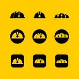 conception plate de chapeau de sécurité, conception plate d'icône de Web Photographie stock