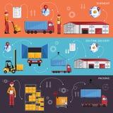 Conception plate de concept de gestion d'entrepôt illustration de vecteur