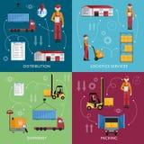 Conception plate de concept de gestion d'entrepôt illustration stock
