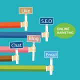 Conception plate de concept de marketing en ligne illustration stock