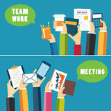 Conception plate de concept de travail d'équipe et de réunion de bannière illustration libre de droits