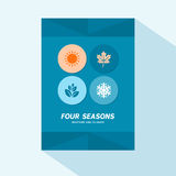 Conception plate de couverture de brochure avec quatre icônes de saisons Photos libres de droits