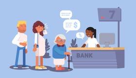 Conception plate de file d'attente de réception de banque Illustration de vecteur illustration de vecteur