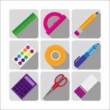 Conception plate de fournitures scolaires colorées Photo stock