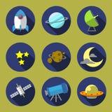 Conception plate de l'illustration 01 d'icône de l'espace Photos stock