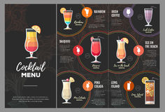 Conception plate de menu de cocktail illustration de vecteur