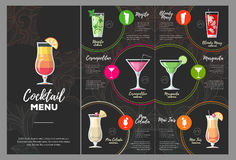 Conception plate de menu de cocktail illustration stock