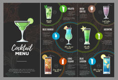 Conception plate de menu de cocktail illustration libre de droits