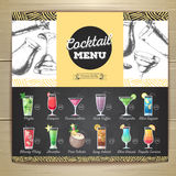 Conception plate de menu de cocktail de dessin de craie de vintage illustration libre de droits