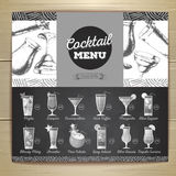 Conception plate de menu de cocktail de dessin de craie de vintage illustration stock