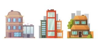 Conception plate de rétros et modernes maisons de ville Vieux bâtiments, gratte-ciel bâtiment coloré de cottage, maison de café Images stock
