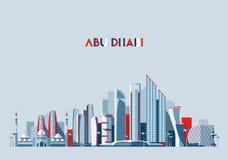 Conception plate de vecteur arabe d'émirats d'horizon d'Abu Dhabi Images libres de droits