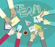 Conception plate de vecteur de réunion d'équipe d'affaires, mains d'homme d'affaires au travail de bureau Photo stock