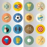 Conception plate des icônes de coupe de moitié de sport Image stock