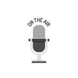 Conception plate du microphone par radio sur l'air illustration de vecteur