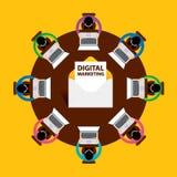 Conception plate, email lançant le concept sur le marché, vente de Digital, travail d'équipe, vecteur Image libre de droits