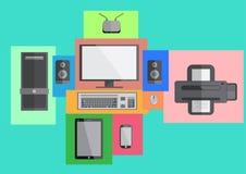 Conception plate futée de téléphone et de comprimé d'ensemble d'ordinateur illustration libre de droits