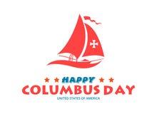 Conception plate heureuse de Columbus Day Design Concept Vector Image heureuse de vecteur de Columbus Day Greetings ou de bannièr illustration libre de droits