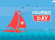 Conception plate heureuse de Columbus Day Design Concept Vector Image heureuse de vecteur de Columbus Day Greetings ou de bannièr illustration de vecteur
