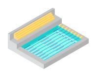 Conception plate isométrique de piscine Photos stock
