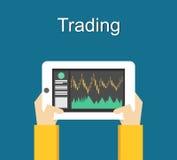 Conception plate marchande d'illustration de concept Surveillance du commerce sur l'instrument Images stock