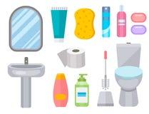 Conception plate propre d'hygiène d'illustration de style de salle de bains de cuvette des toilettes d'icône d'équipement de Bath Photographie stock libre de droits