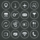 Conception plate réglée par icônes de communication Photographie stock